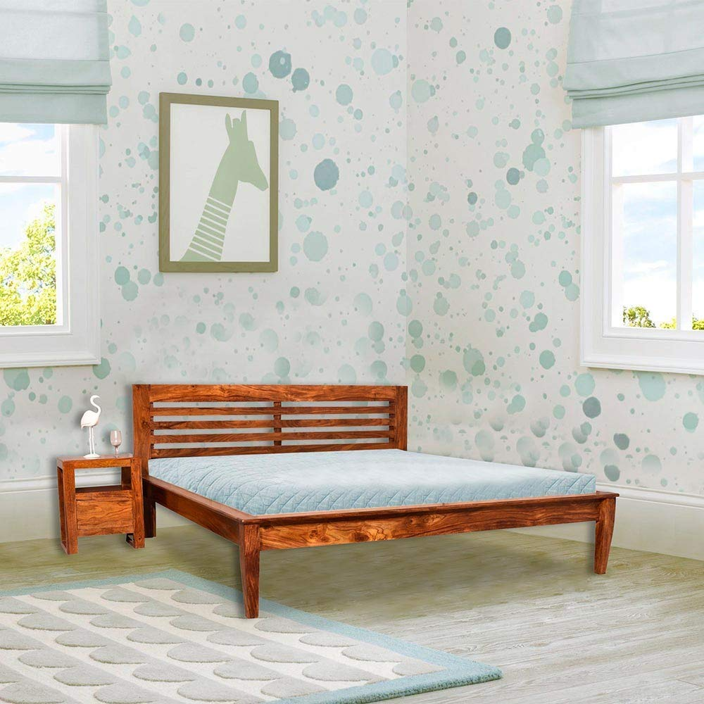Woodlo Sheesham Wooden Bed Natural Finish Queen Bed for Bedroooom