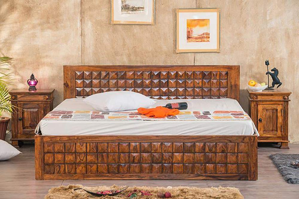 Piuom Bed for Bedroom Queen Size Bed with Storage Solid Bed  Honey Finished