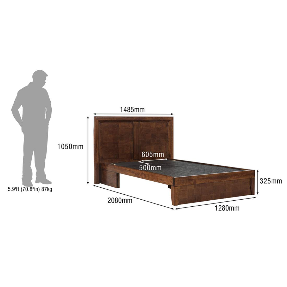 Lizam Queen Size Bed, queen size bed box (Matte Finish, Dark Oak)