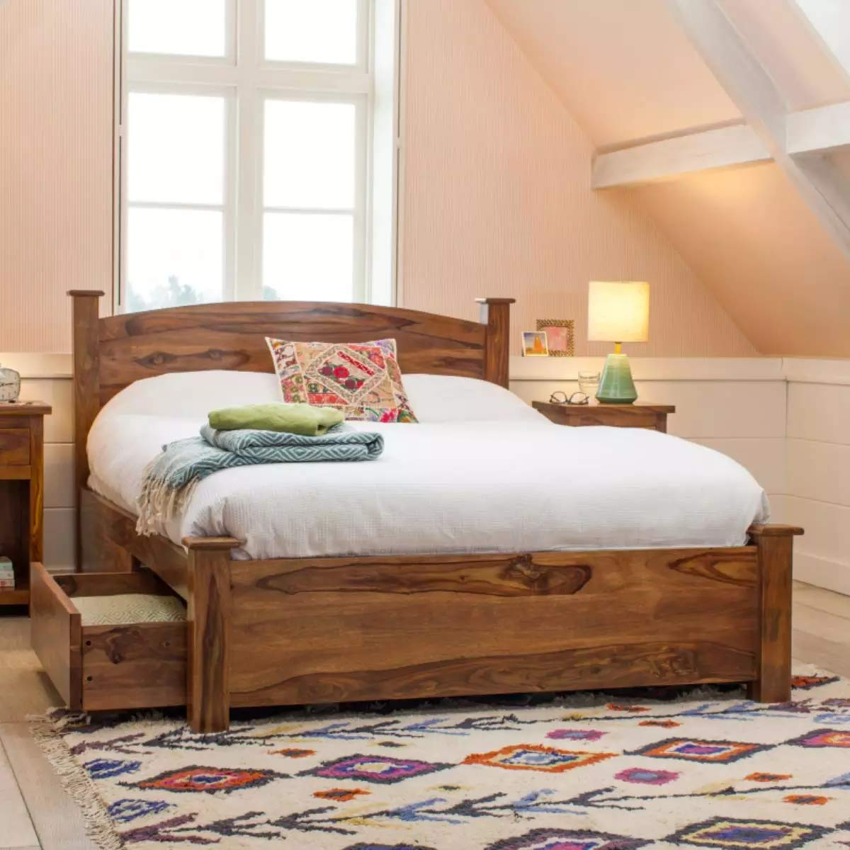 Sheesham Wood Kermit Queen Size Bed with 2 Drawers for Bedroom  Brown Finish