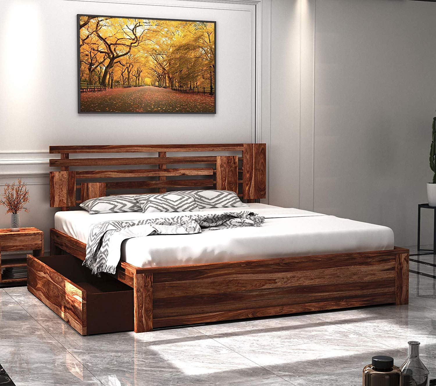 Wooden Cot Aelinia Sheesham King Size Bed with Drawer Storage Cabinet for Bedroom Home (Teak Finish - Matured Wooden Furniture_King)