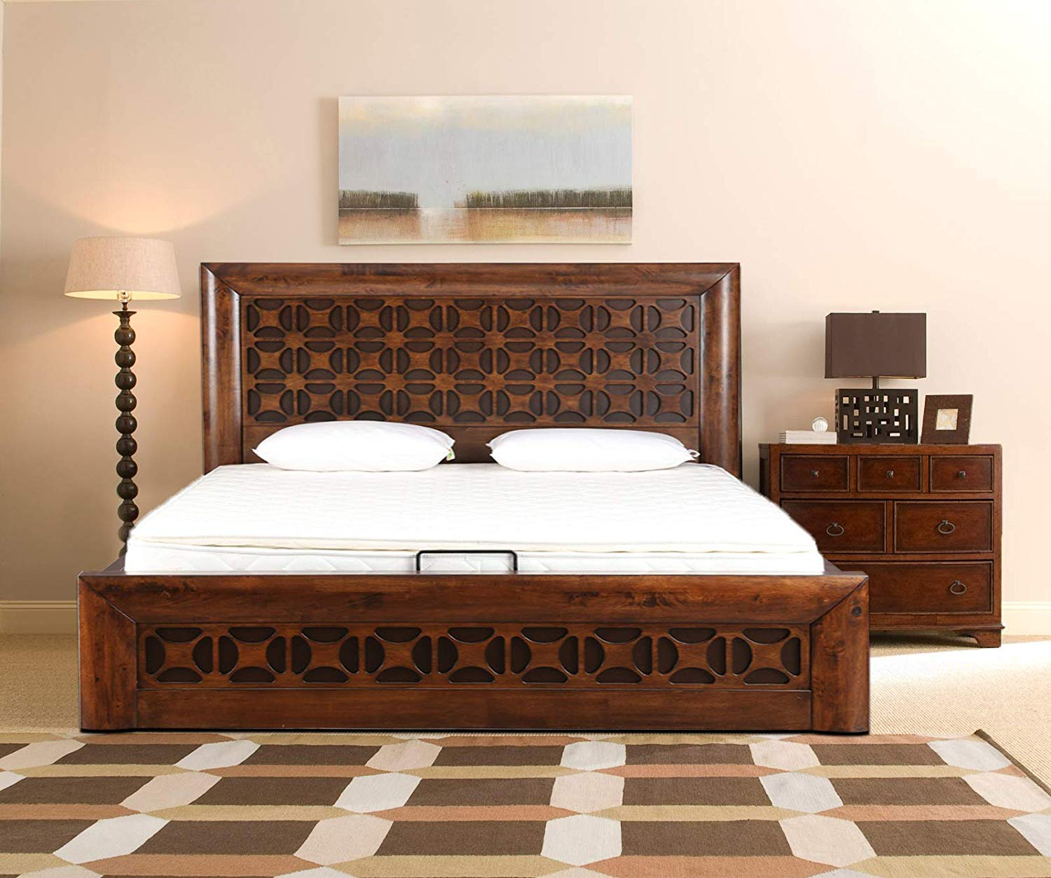 Solid Wood Queen Bed with Hydraulic Storage (Walnut)