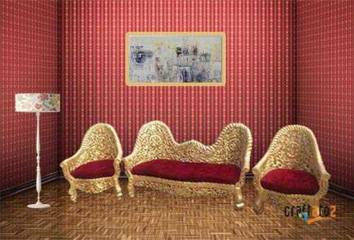 Wodced 5 seater sofa set wooden Set/Living Room Furniture Sofa Set (Standard Size, Golden)