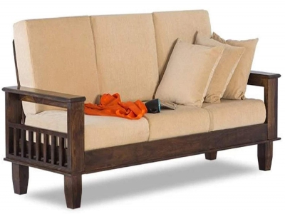 """Solid Sheesham Wood 3 Seater Sofa Set for Living Room with Cushions Home and Office Furniture"