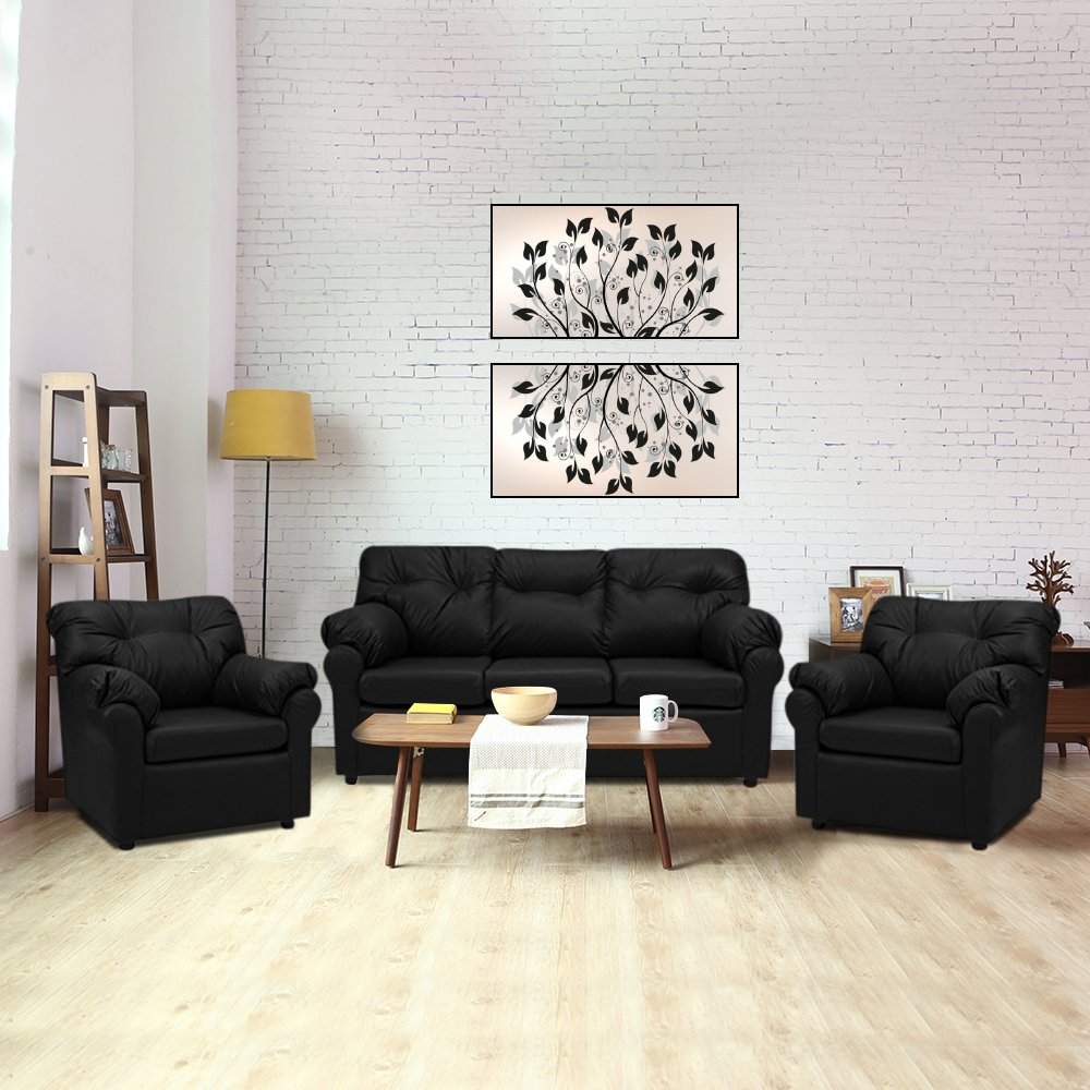 Closia Fabric 3 + 1 + 1 Sofa Set, Black