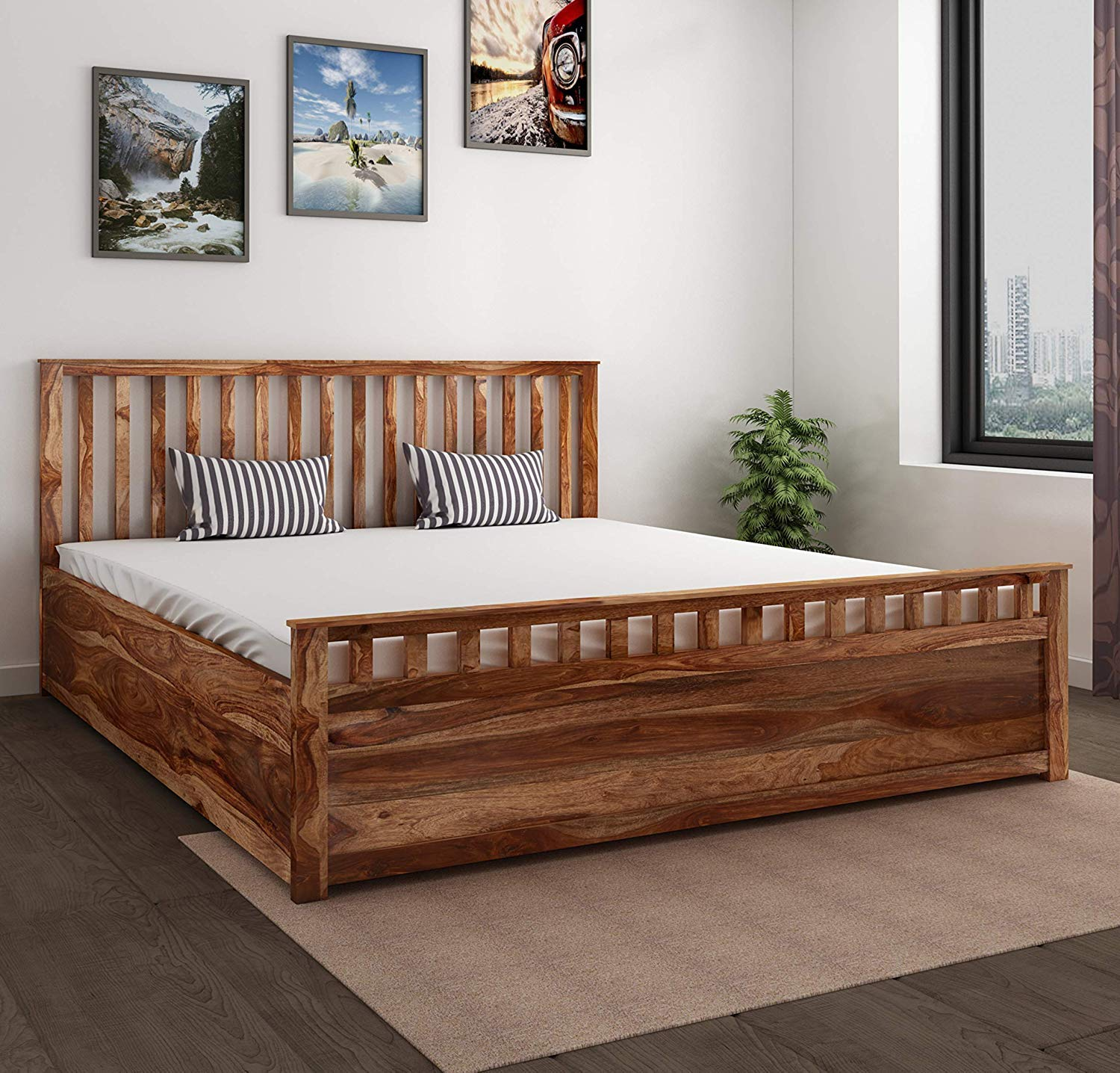 Tolreen King Size Bed for bed Room, king size bed furniture for bedroom  (Honey Medium)