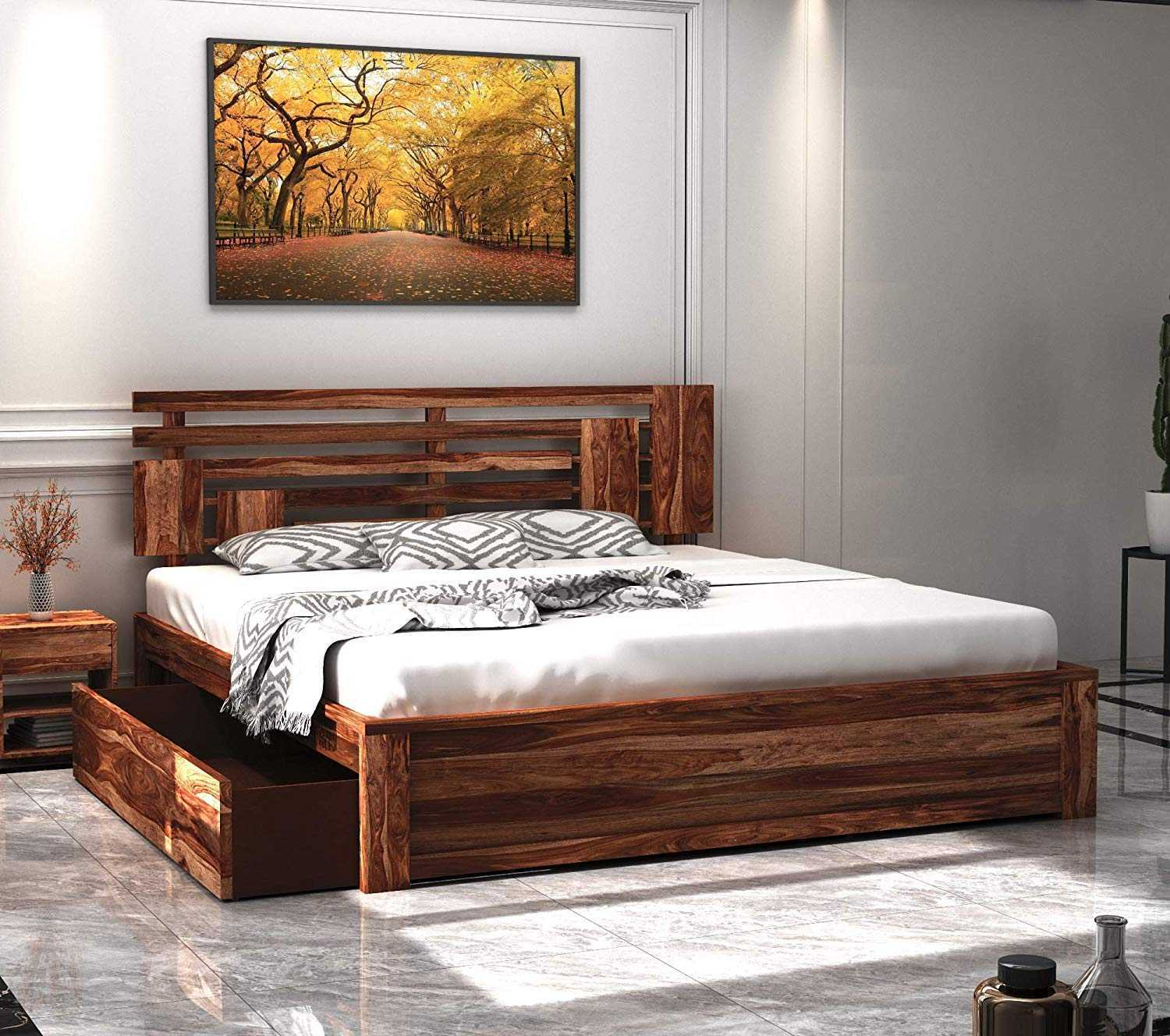 Salreen king size bed furniture for bedroom, King bed with Storage