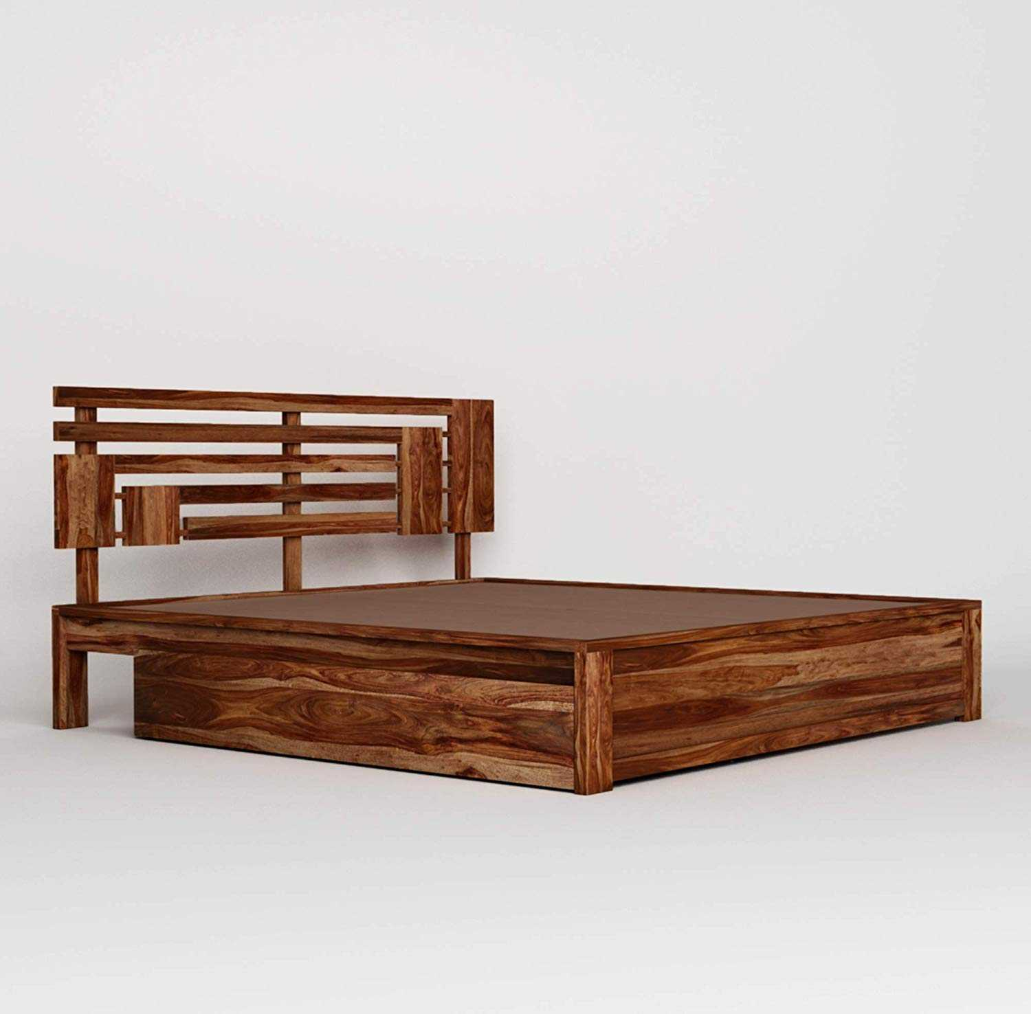 Aloonti King Size Bed with Drawer Storage Cabinet for Bedroom Home (Teak Finish - Matured Wooden Furniture_King)
