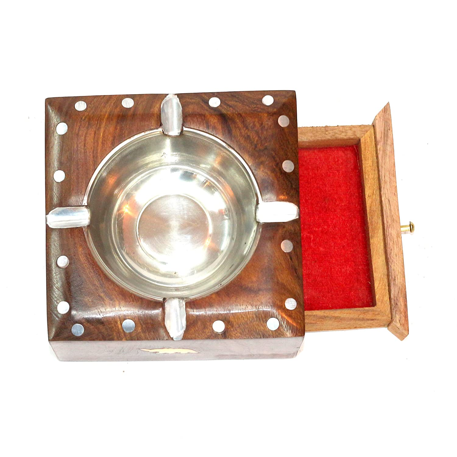 Abhya  Ashtray with Draw and Brass Work Standard