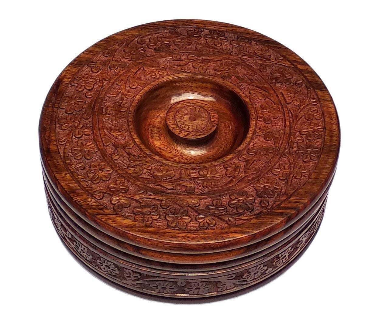 Deuse Casserole Wooden Box Handcrafted Pot Serving Bowl Chapati Box