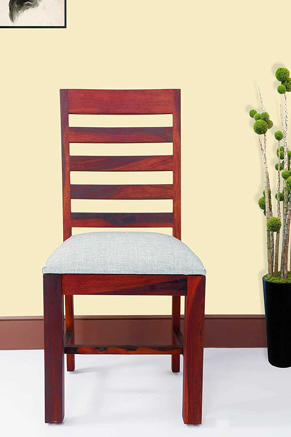 Lefik Sheesham Wood Dining Chair for Home (Honey Finish)