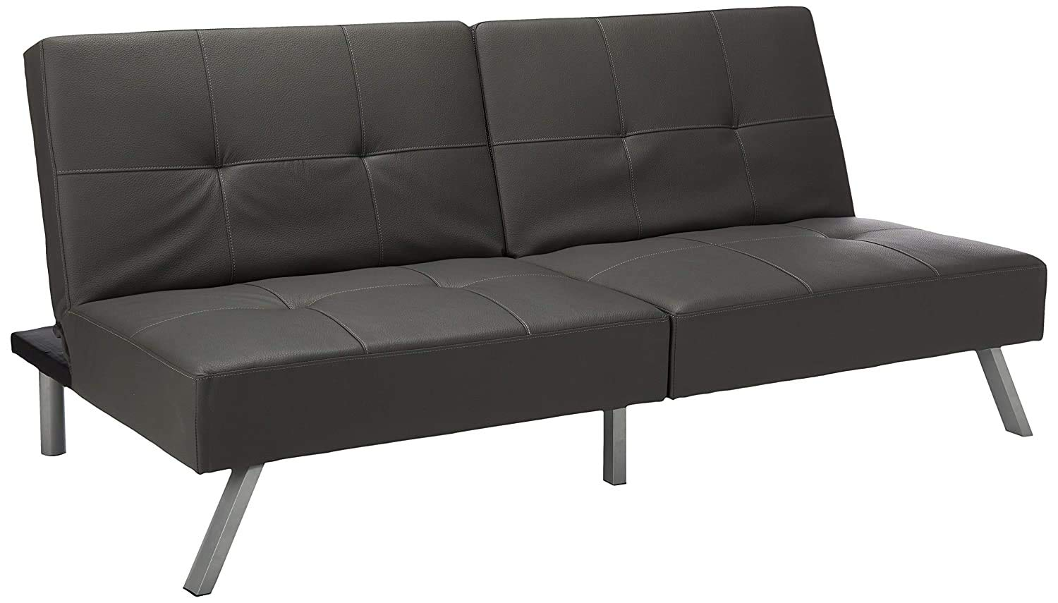 Grey Vinyl Click Clack Futon Sofa Bed