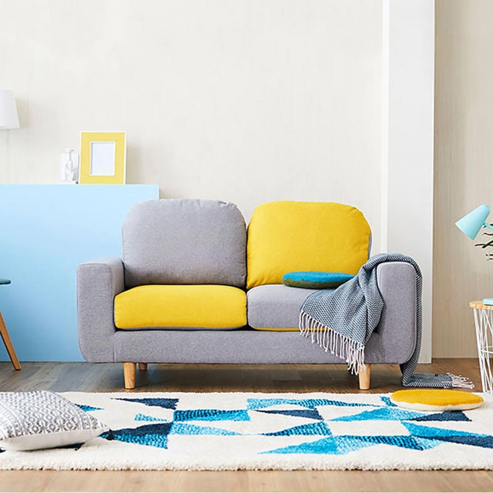 Tinko 2 Seater Sectional Sofa (Grey and Yellow)
