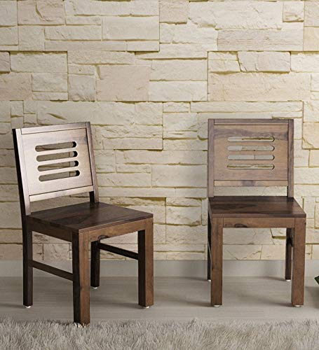 Lopin Wooden Study Chair Teak Finish  Set of 2