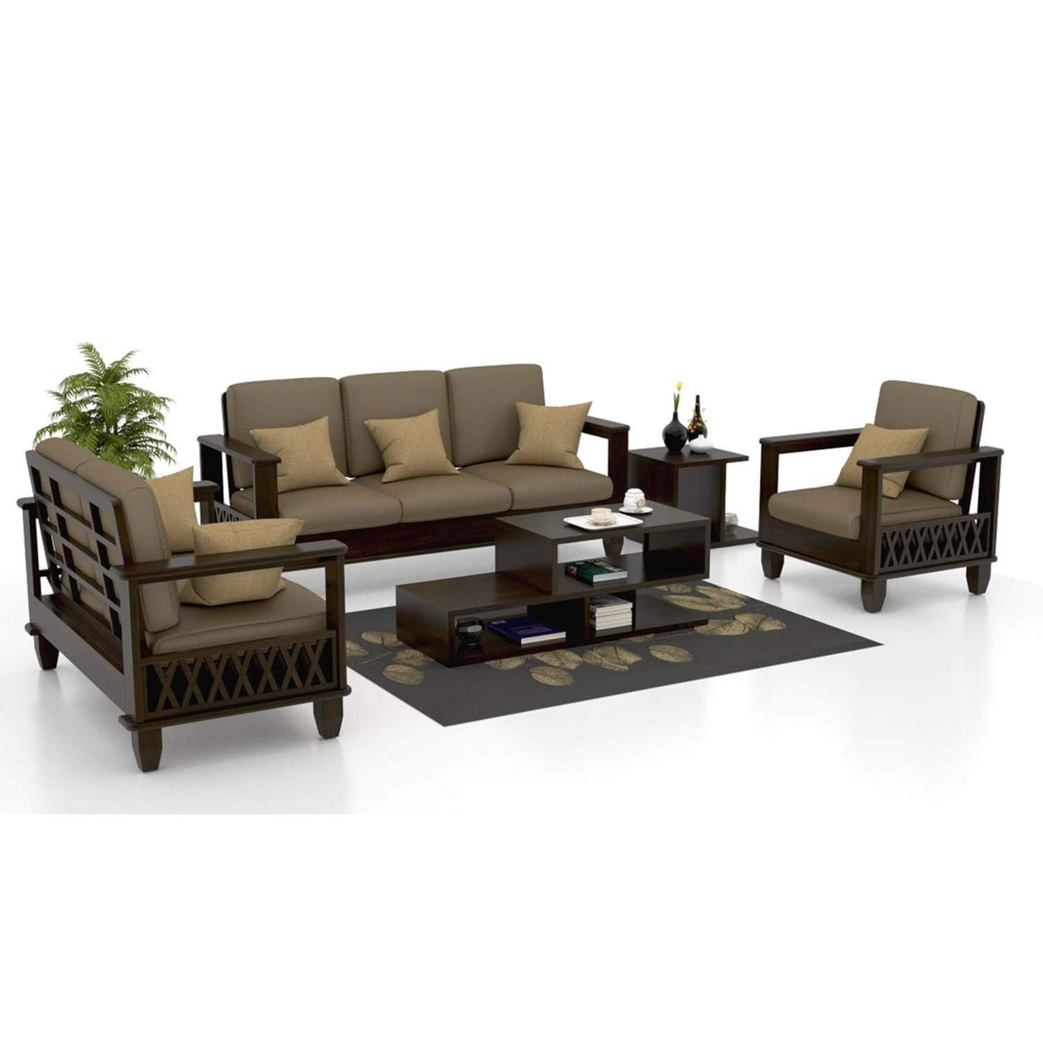 Renoot 5 seater sofa 3+1+1 Sofa Set Furniture for Living Room Walnut Dark Brown