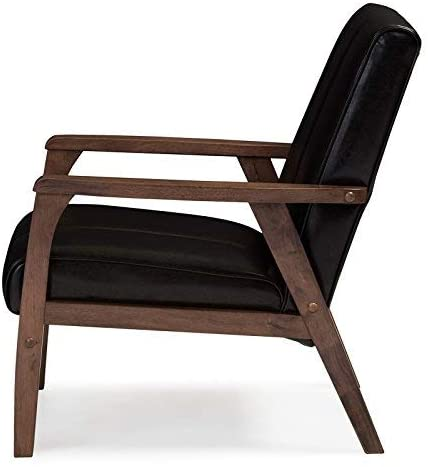 craftatoz  Sheesham wood Modern Scandinavian Style Faux Leather Wooden Lounge Chair, Black