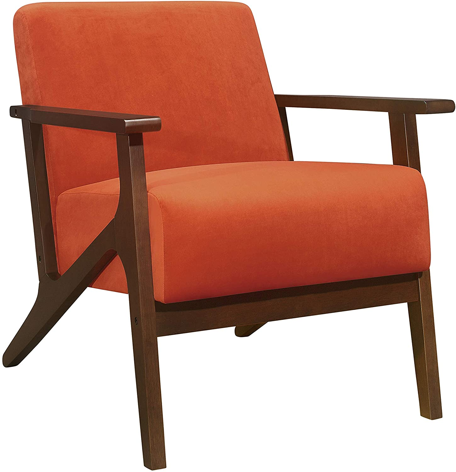 Fiknod wooden Accent Chair, Arm Chair Orange