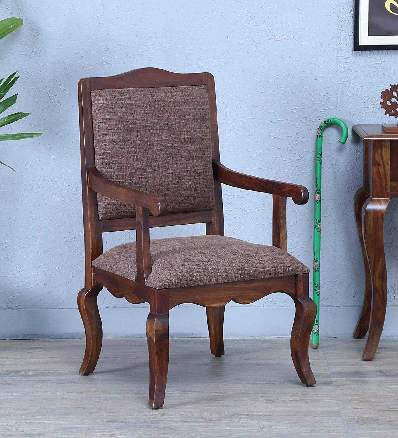 Pisvil Wooden Solid Wood Arm Chair in Provincial Teak