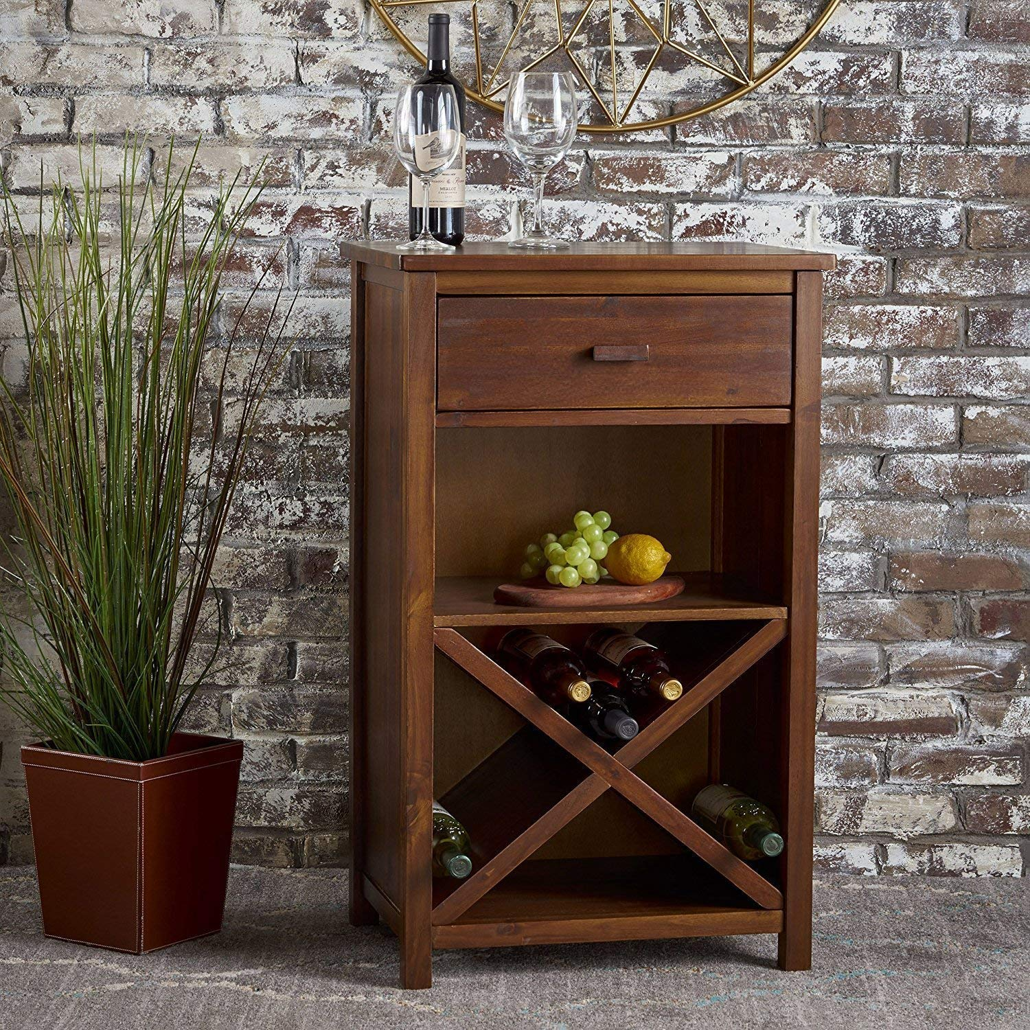 Kazlify Cabinet Wine Rack Beer Bar with Glass Storage (Teak Finish)