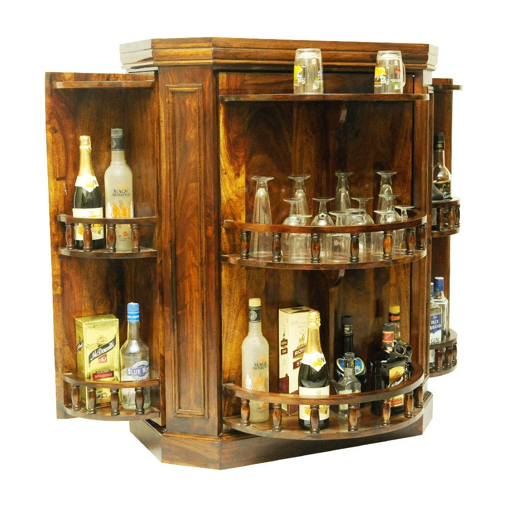 Tikney Rotating Hidden Bar Cabinet for Home  Liquor Wine Storage  Honey Finish
