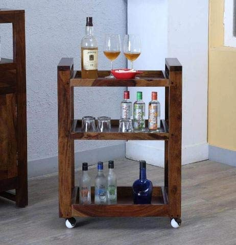 Moovni Wooden Bar Trolley/Serving (Teak Wood Shade)