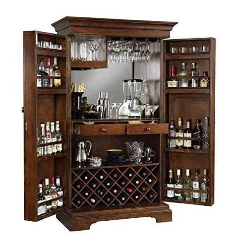 Bisole Bar Cabinet with Wine Glass Storage (Brown, 90x50x180cm)
