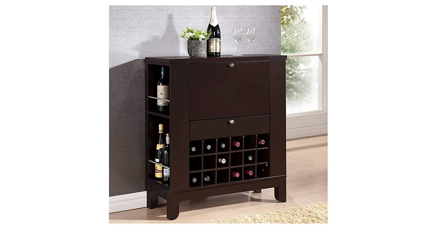 Zameily Wine Storage Genoa Bar Cabinet for Living Room  Dark Brown