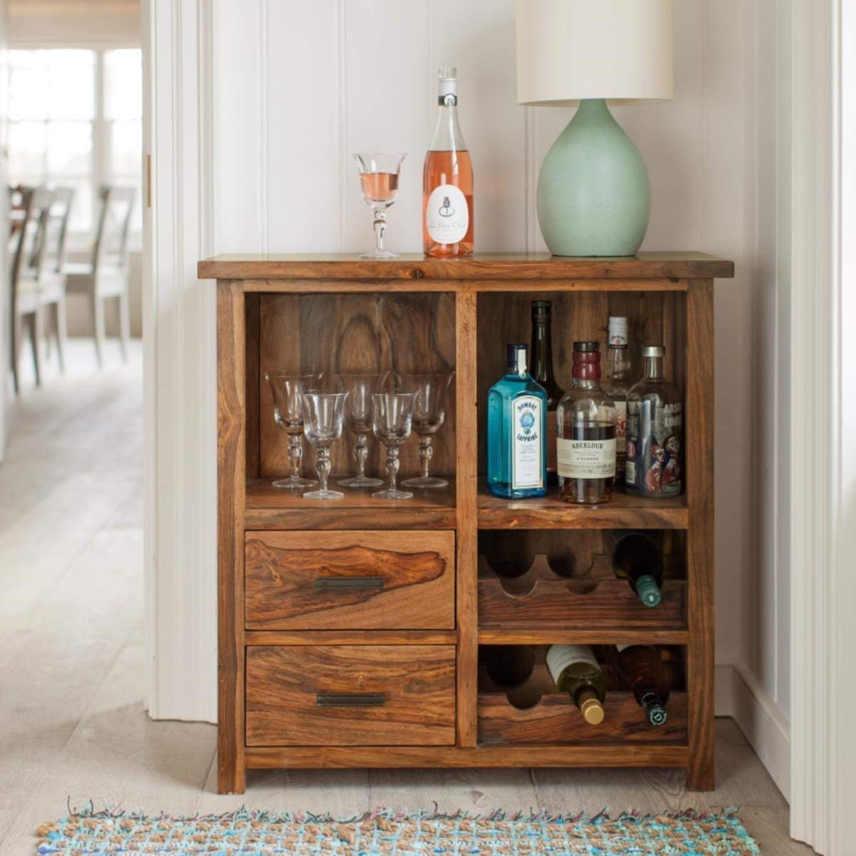 Killice Bar Cabinet  for Home & Living Room  Liquor Storage  with Wine Glass Storage  Brown