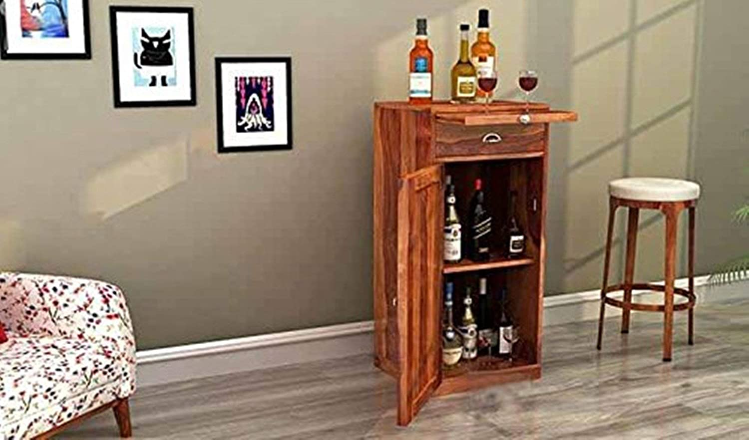 Mustik Sheesham wood  Benger Bar Cabinet for Home