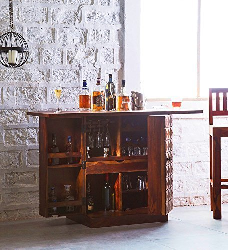 Aloob  Bar Cabinet for Living Room, Teak Finish