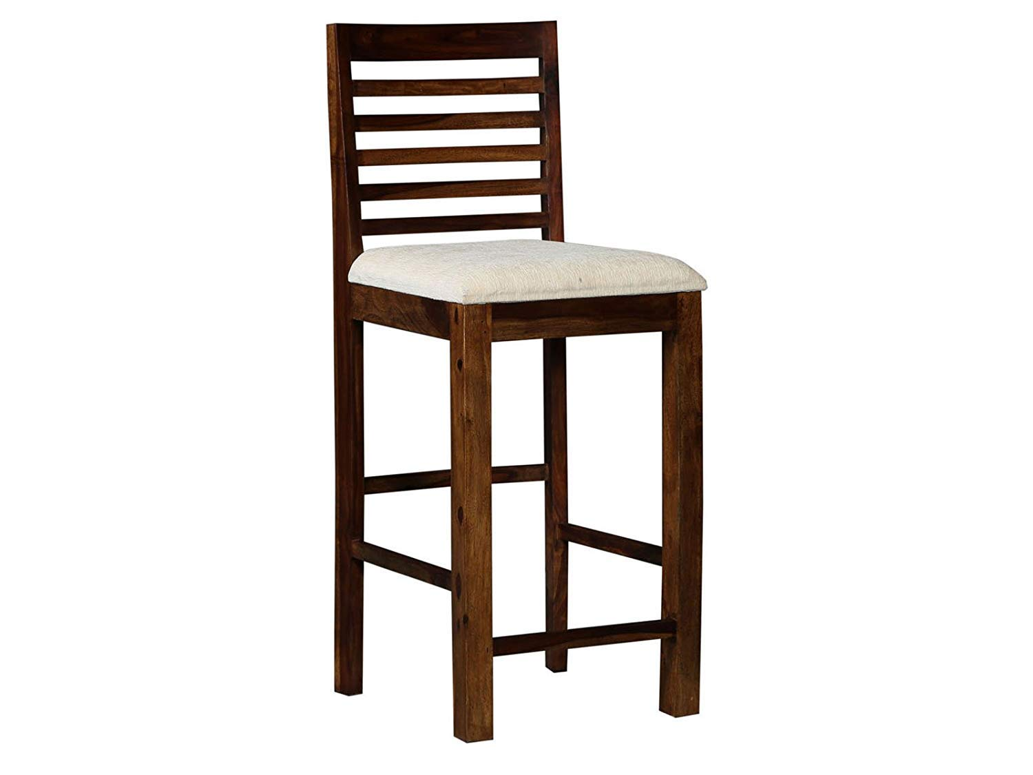 Kobin Bar Chair for Home Long Wooden Chair  Bar Chair High with White Cushion Walnut Brown Finish
