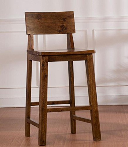 Sozaf Bar Stool with Teak Wood Finish , bar chair in wooden (Brown)