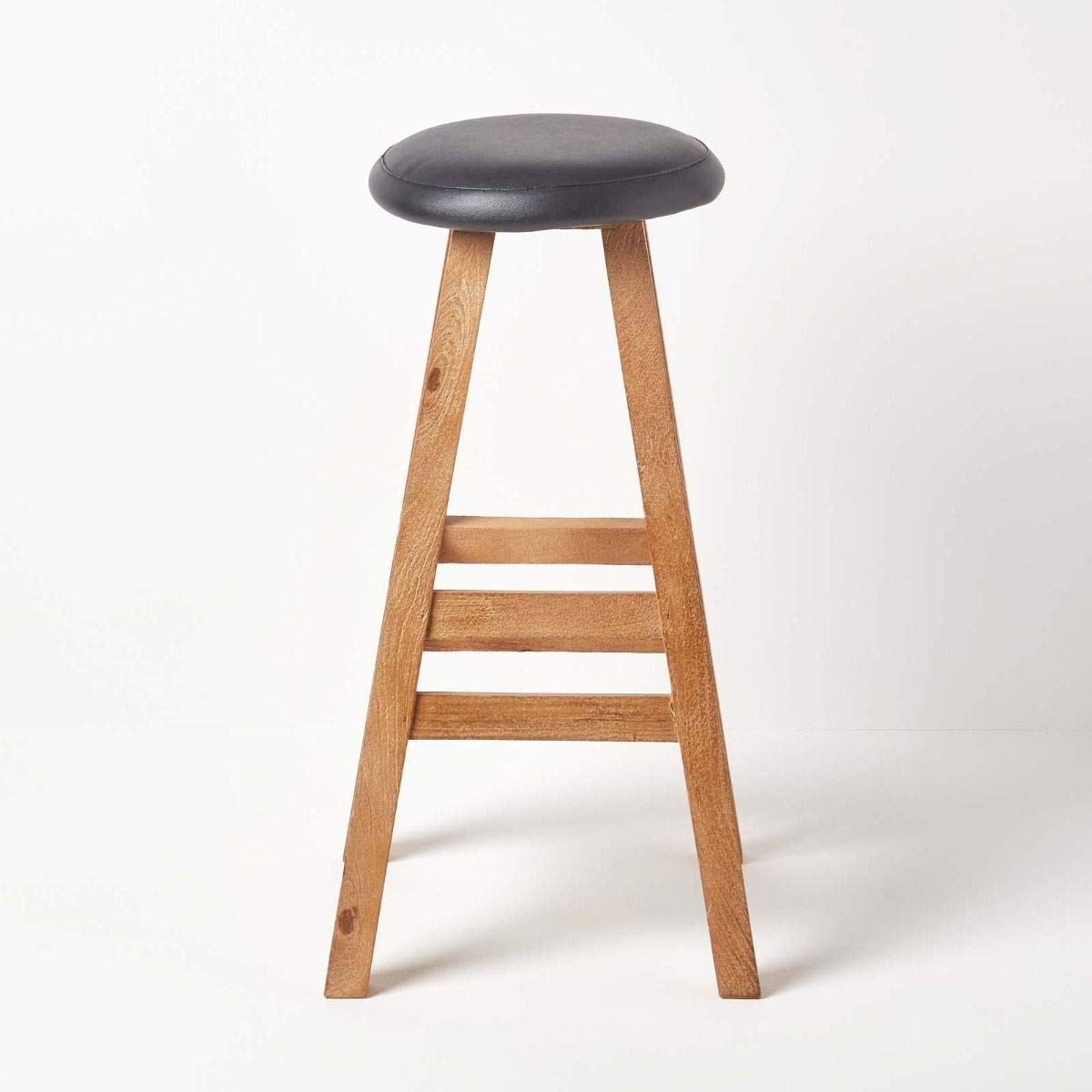 Aloope Wooden Round Shape Bar Stool Natural Mango Wood with Smooth Finish for Bar/Kitchen/Cafe/Counter/Restaurant Furniture Pre-Assembled - Black