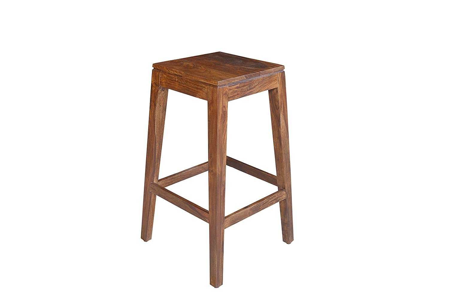 Solnib Bar Chair for Home Long Solid Wood Chair High Stool Natural Brown