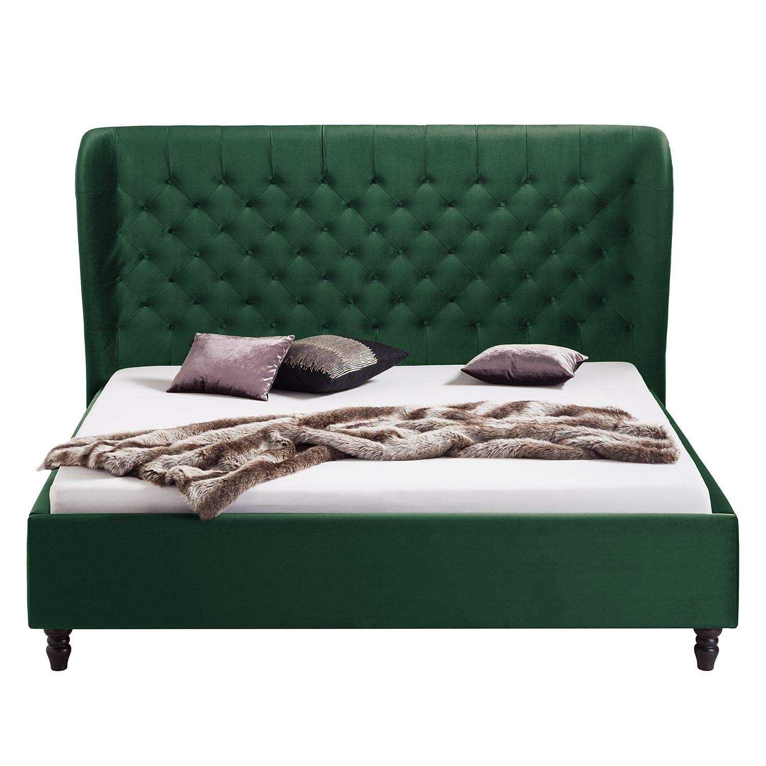 Alvin upholstered bed king Low Height King Size Bed Without Storage (Finish: Green Leatherite)
