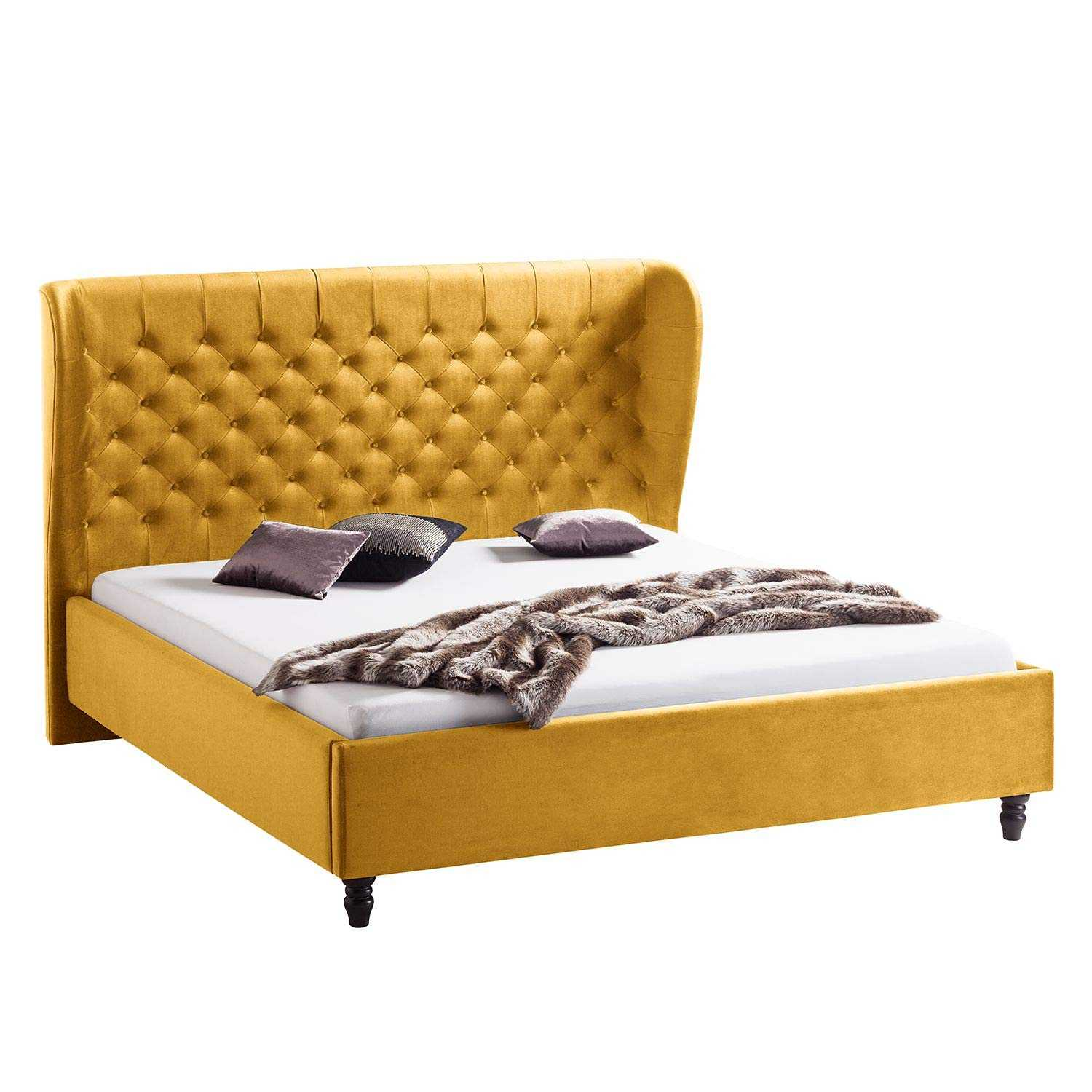 Alvin upholstered bed king Low Height King Size Bed Without Storage (Finish: yellow Leatherite)