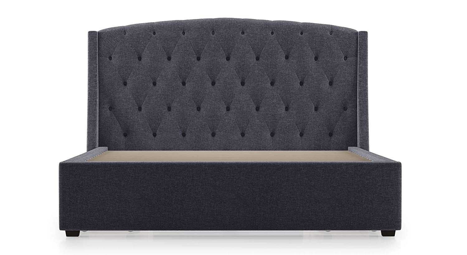 Anome Upholstered King Size Storage Bed ,upholstered bed with storage(Colour : Gray)