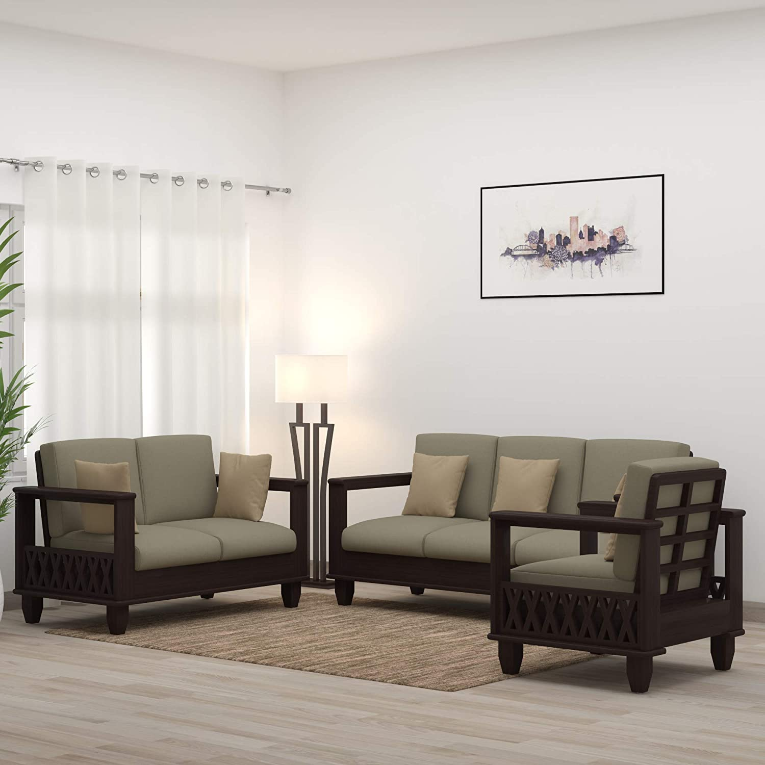 Hema Solid Sheesham Wood Sofa Sets for Living Room 3+2+1 Walnut (Dark Brown)