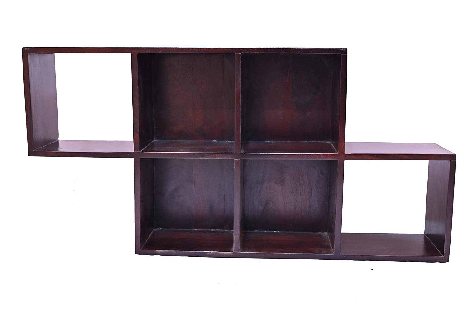 craft a to z  Walnut Finish Pure Sheesham Wood Wall Book Shelf for Living Room