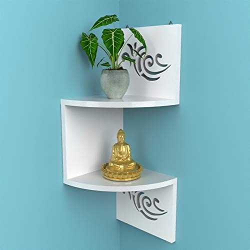 Shihan corner shelf for kitchen 2 Tier Zigzag Wall Mounted