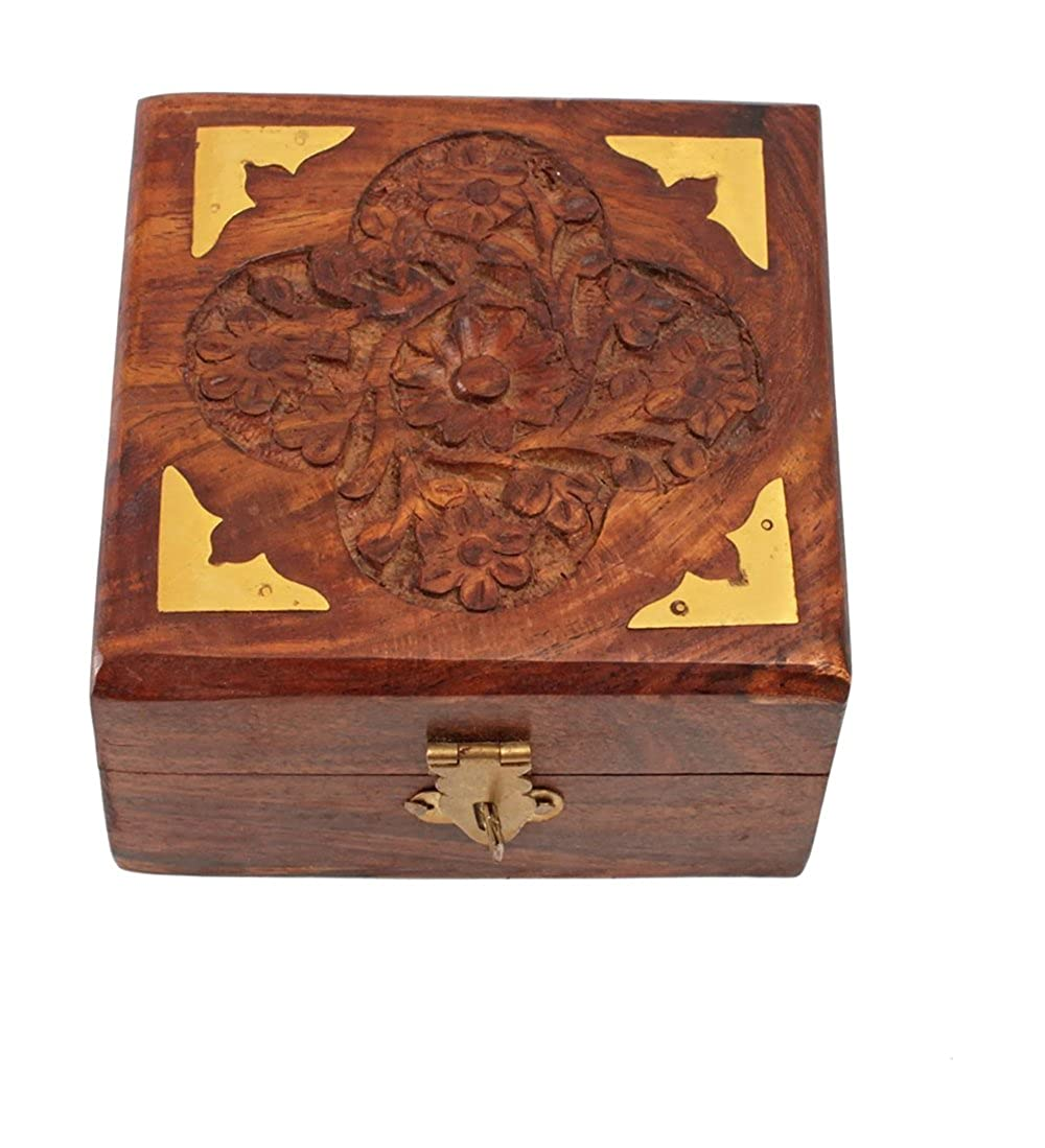 Sheesham wood Wooden Jewellery Box for Women Jewel Organizer Square Carving with Brass Corner Handmade 4 Inch