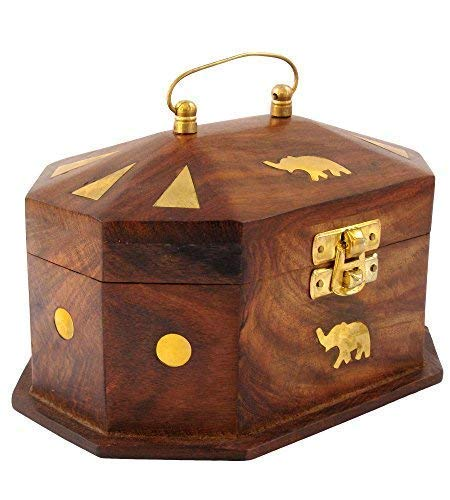 Sheesham Wood Wooden Jewellery Box for Women Jewel Organizer Elephant Decor, 6 Inches