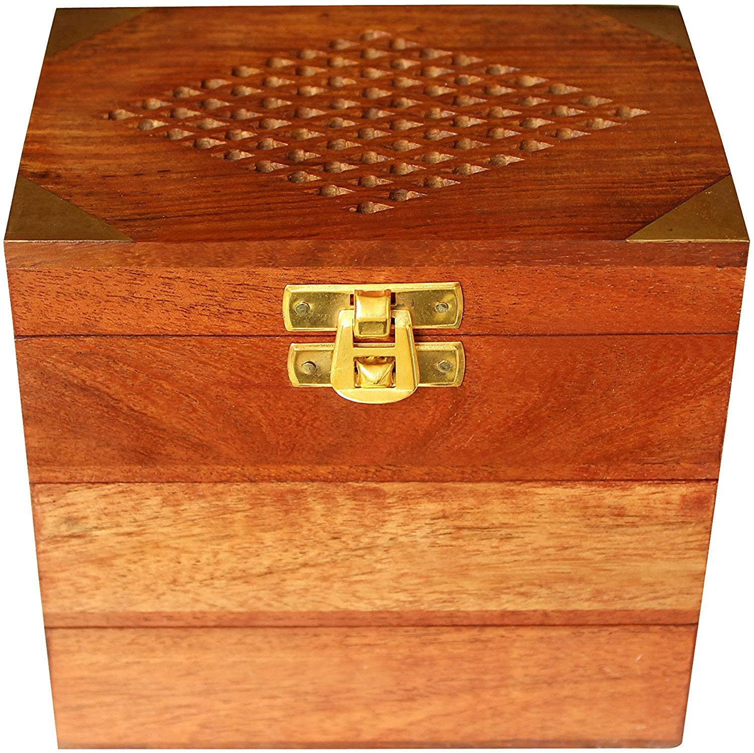 Sheesham Wood Jewellery Box for Women Jewel Organizer Box Hand Carved Carvings, Small Box (5.5 X 3.5 X 3.5 inches) Gift Items