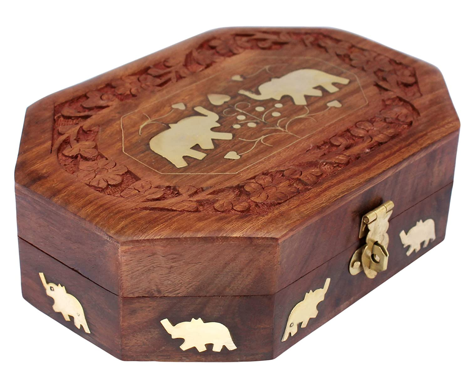 Sheesham wood Wooden Jewellery Box Octagonal Handcrafted Elephant Brass Inlay & Wood Carvings