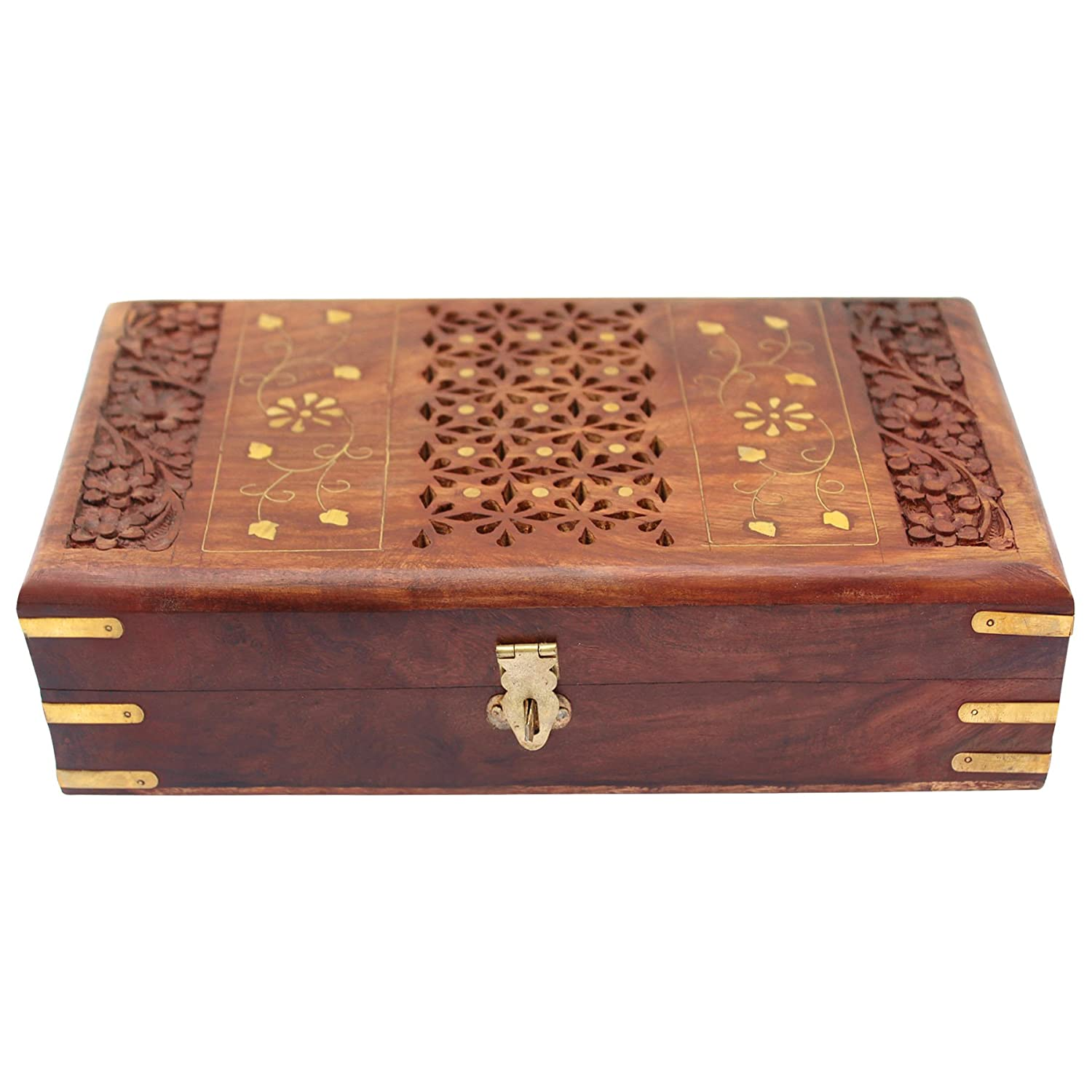 Sheesham wood Wooden Jewellery Box for Women Jewel Organizer Hand Carved with Intricate Carvings Gift Items - 10 inches