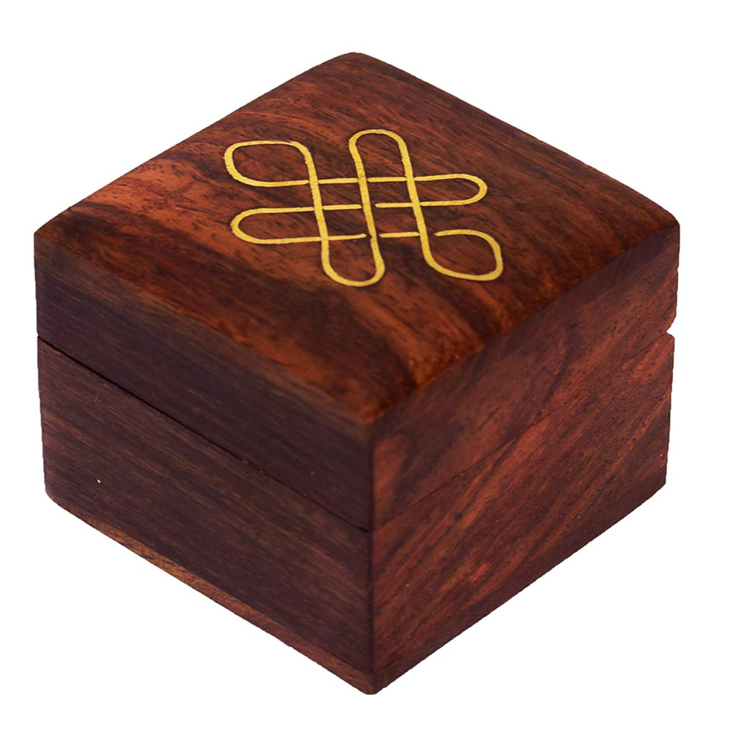 Sheesham wood Wooden Jewelry Box - Decorative Trinket Box with Brass Inlay Work (2x2 inch)?
