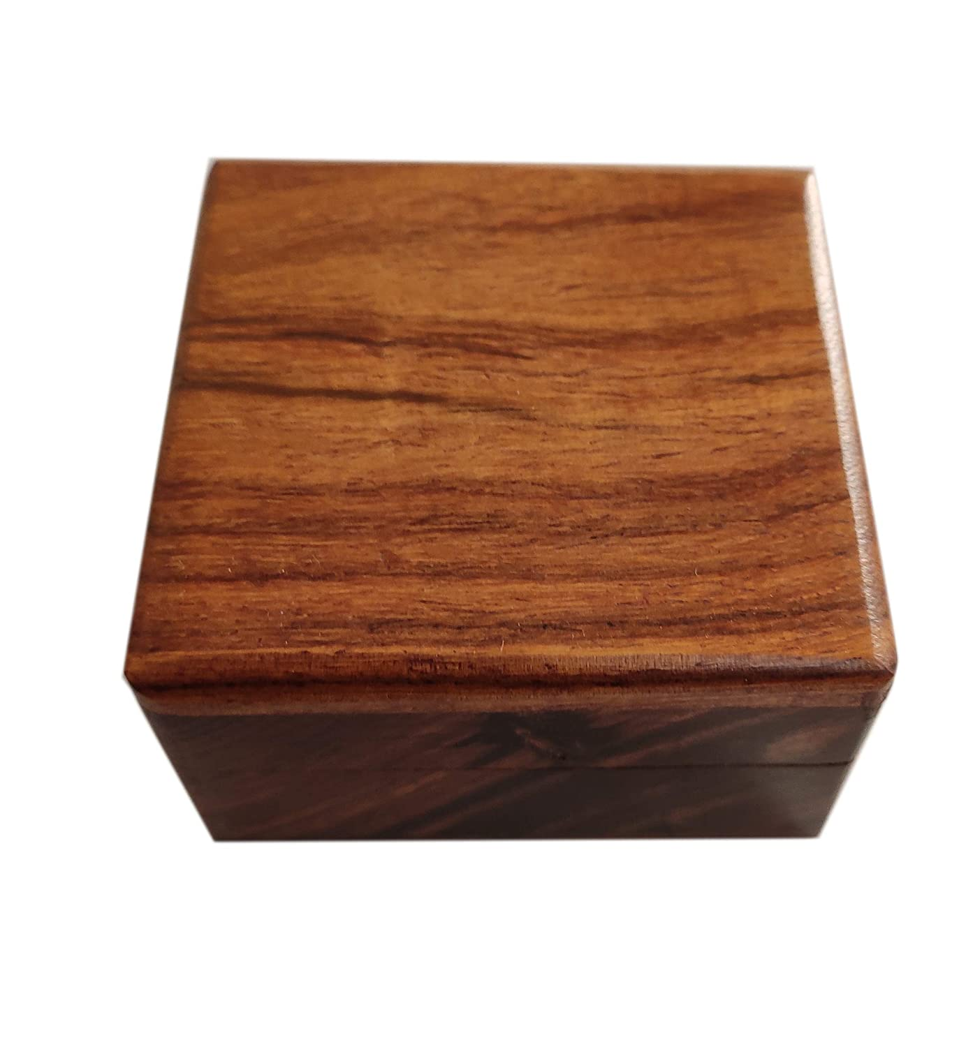 sheesham Ring, Jewellery Storage Box, Size 7x7x3.4cm