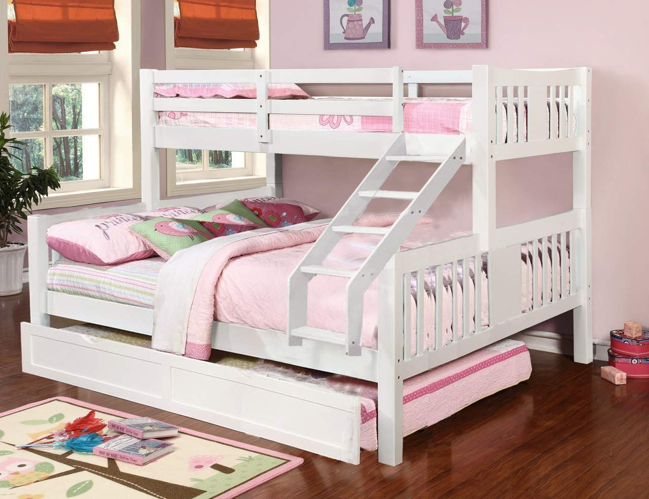 Mango wood White Twin Over Queen Bunk Bed with Trundle