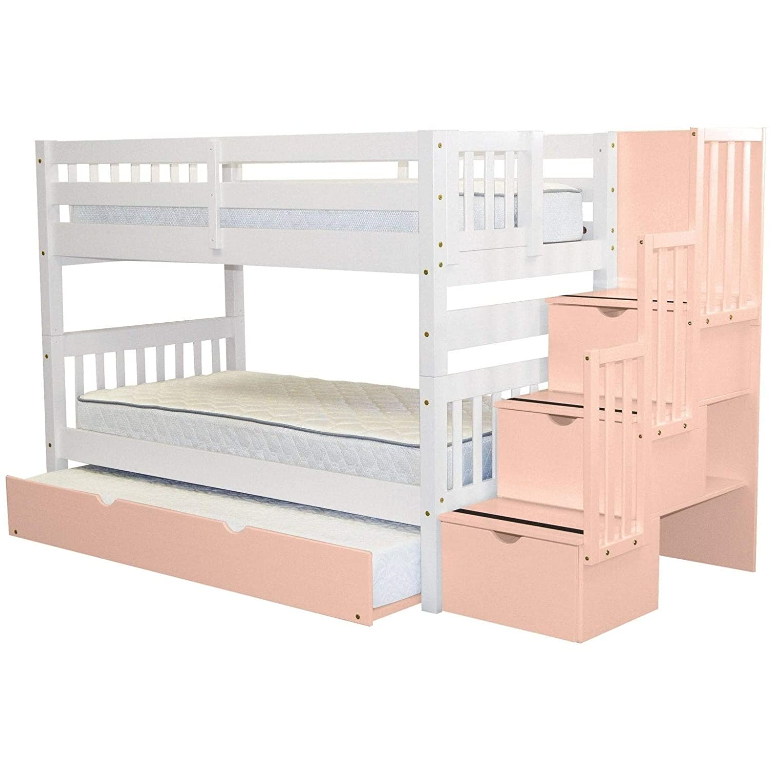 Jusol kids bunk bed with Trundle White BUNK Bed for Kids