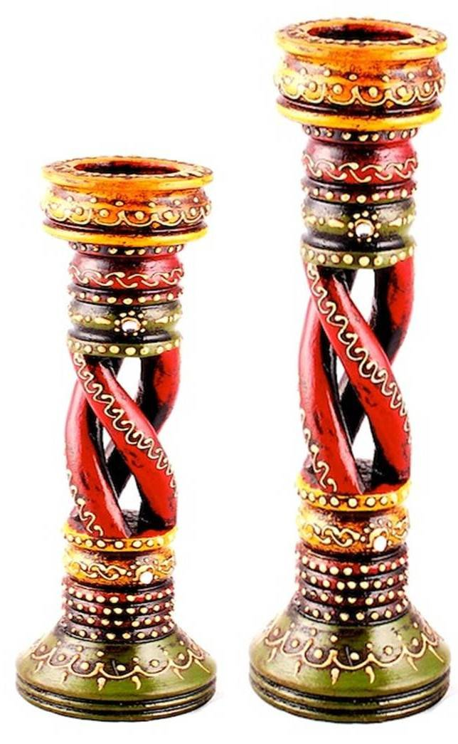 Helji Sheesham wood Wooden Candle Holder